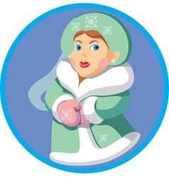 Cartoon Snowwoman 01 vector image vector image