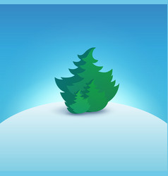 Christmas tree on snowy hill vector