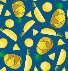 Colorful seamless pattern with pineapple slices vector