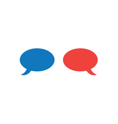 concept of two speech bubble in blue and red vector image vector image