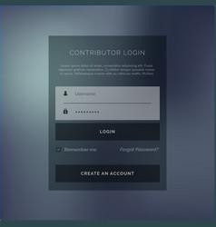 creative login form ui template in dark theme vector image vector image
