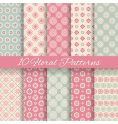 Floral different seamless patterns tiling vector