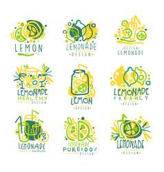 freshly lemonade 100 percent pure lemon set for vector image vector image