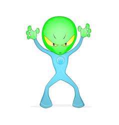 green frightening alien vector image