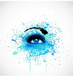 Grunge abstraction blue make-up vector image vector image