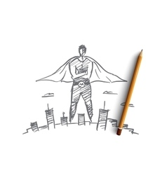Hand drawn super man over big city vector image