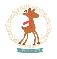 Hello winter card with cute reindeer vector image vector image