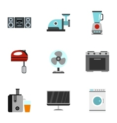 Home electronics icons set flat style vector