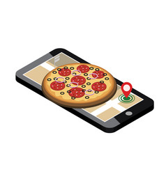 Isometric city food delivering pizza mobile vector