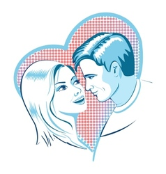 Love man and woman with heart vector image