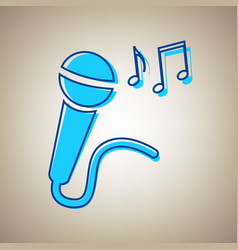Microphone sign with music notes sky blue vector