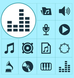 Music icons set collection of cd megaphone vector