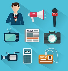 News cast journalism television radio press vector