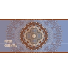 Oriental Flayer template design in blue and brown vector image vector image