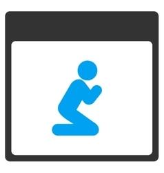 Pray person calendar page toolbar icon vector