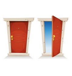 Red door open and closed vector
