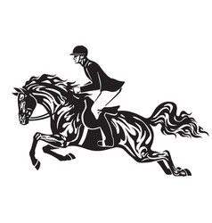 rider on the black horse vector image vector image