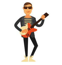 Rock singer in sunglasses and leather jacket with vector