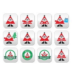 Santa Claus icons Merry Christmas buttons vector image vector image