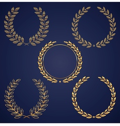 set of golden laurel wreaths vector image vector image
