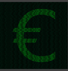 silhouette of euro symbol from binary digits vector image