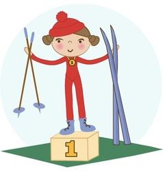 Skiing winter child - young skier in winter resort vector