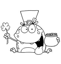 St Patricks day cartoon frog vector image vector image