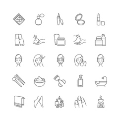 Thin line cosmetic icons vector image