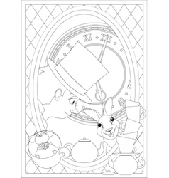 Coloring page alice in wonderland mad tea party vector