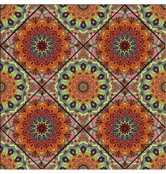 Boho tile flower squares brown green vector