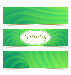 Colorful green waves banners set vector