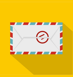 Postage envelope with stamp icon flat style vector