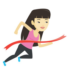 Athlete crossing finish line vector