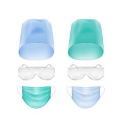 Set of medical face ear loop mask cap glasses vector