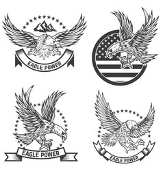 set of coat of arms with eagles design elements vector image