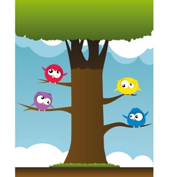 birds on branches vector image