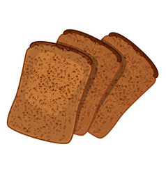 Three slices of wheat bread realistic style vector