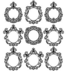 vintage baroque frame decor set detailed ornament vector image
