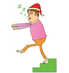 Sleep walking on stair vector