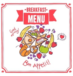 Breakfast sketch menu vector