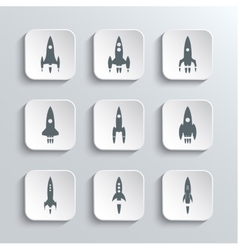 Rocket spaceship web icons set vector