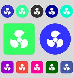 Fans propeller icon sign 12 colored buttons flat vector