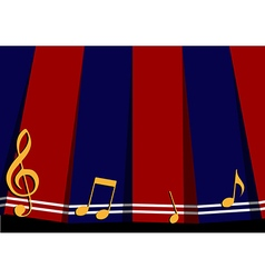 Red navy blue music note background vector