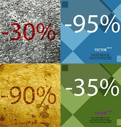 95 90 35 icon set of percent discount on abstract vector