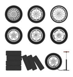 auto wheels set vector image