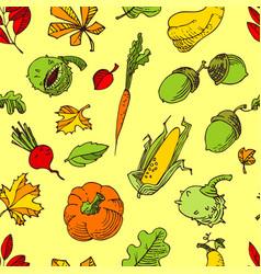 Autumn seamless pattern fall season background vector