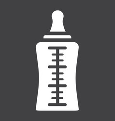 Baby bottle solid icon milk and nipple vector
