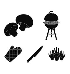 Barbeque grill champignons knife barbecue vector