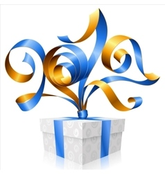 blue ribbon and gift box Symbol of New Year 2017 vector image vector image