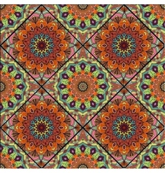 Boho tile flower squares brown green vector